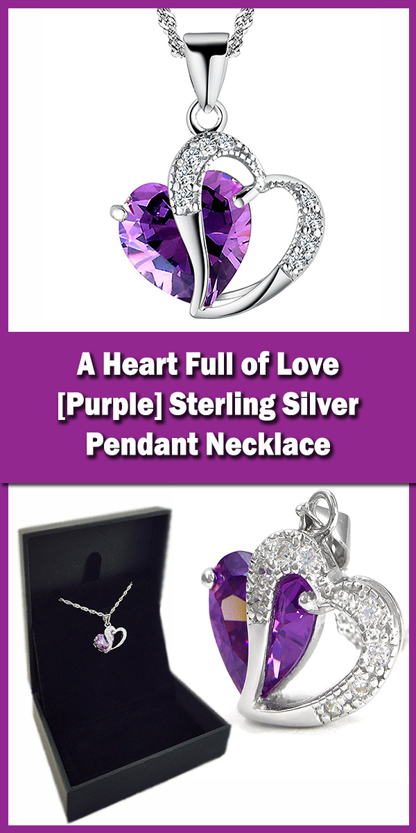 A Heart Full of Love [Purple] Sterling Silver Pendant Necklace