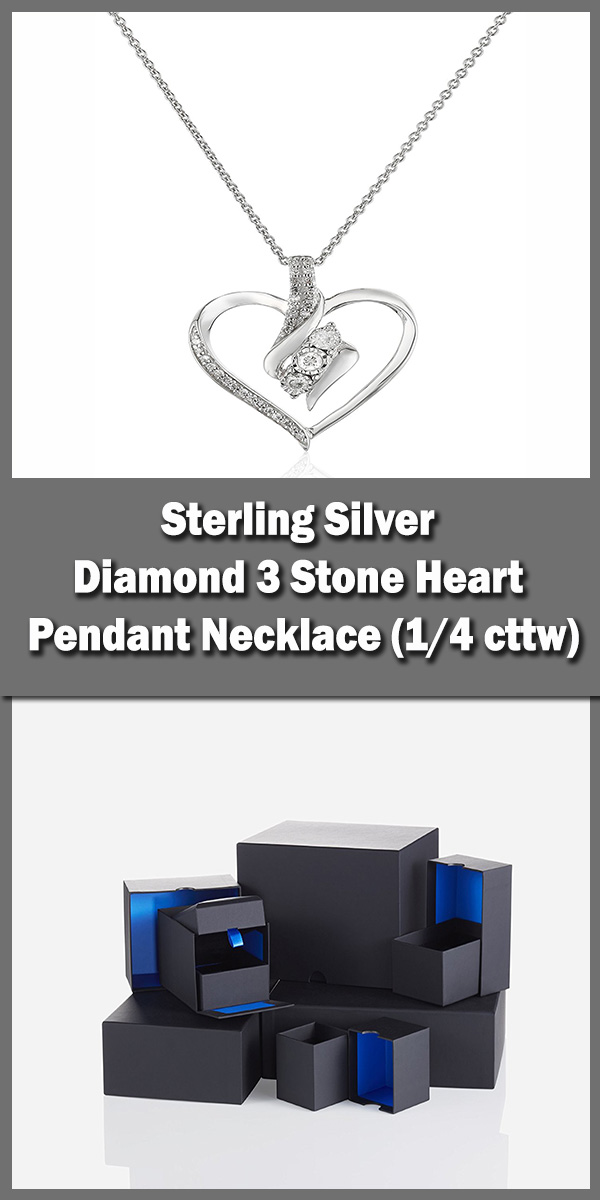 Sterling Silver Diamond 3 Stone Heart Pendant Necklace (1-4 cttw)