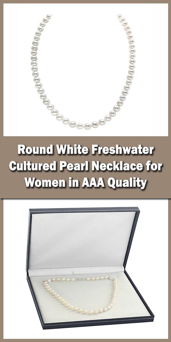 THE PEARL SOURCE Round White Freshwater Cultured Pearl Necklace for Women in AAA Quality