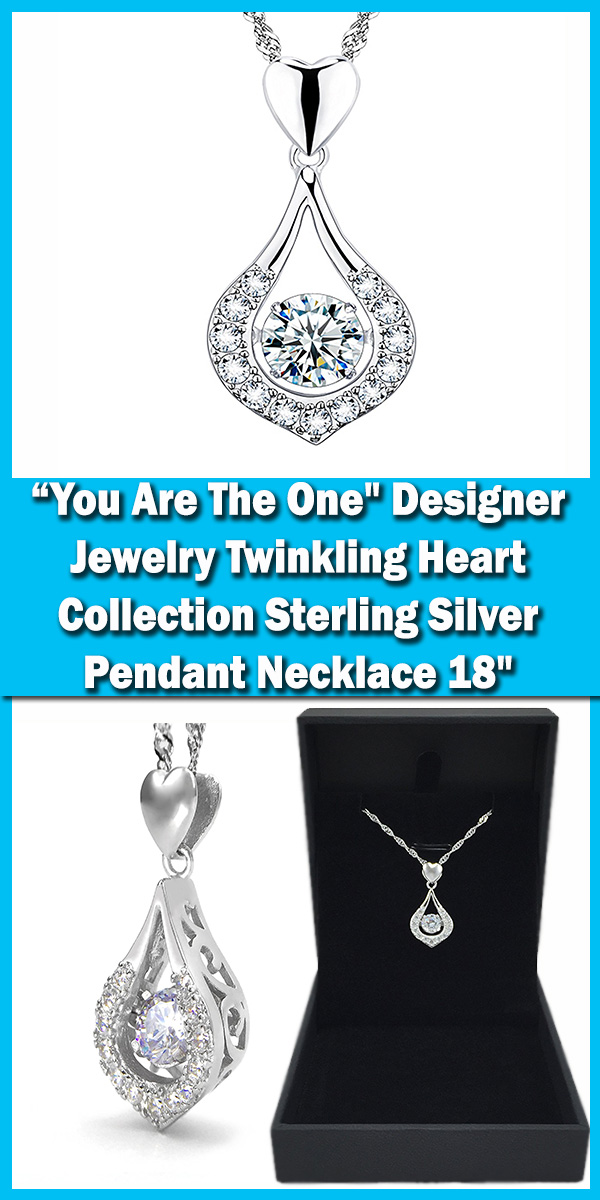You Are The One-- Designer Jewelry Twinkling Heart Collection Sterling Silver Pendant Necklace